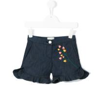 - floral embroidered denim shorts - kids