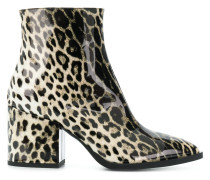 leopard print pointed ankle boots