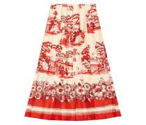 Porcelain Garden print silk skirt