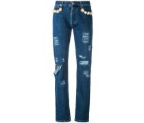 Distressed-Jeans mit Perlen