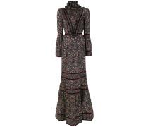 high neck floral flared dress