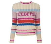 striped logo patch sweater