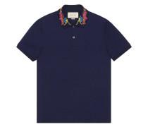 dragon embroidered collar polo shirt