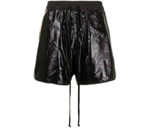 crinkled faux-leather shorts