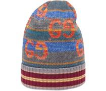 Gestreifte Lamé-Mütze