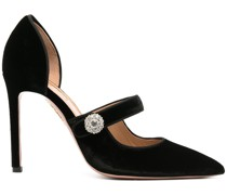 crystal button strap pumps