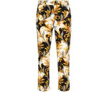 Cropped-Jeans mit Barock-Print