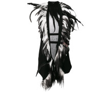 feather trimmed gilet