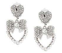 bow heart clip-on earrings