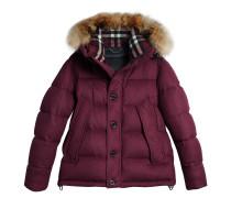 Short Detachable Fur Trim Cashmere Puffer Jacket