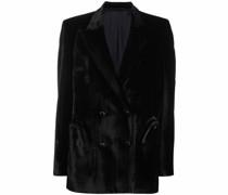 velvet double-breasted blazer