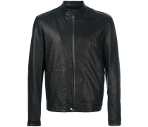 band collar leather jacket