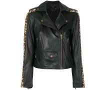 leopard print studded biker jacket