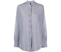 abstract-print mandarin collar shirt