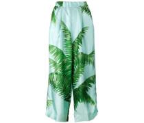 Seidenpyjamahose mit Palmen-Print