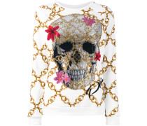 Sweatshirt mit Totenkopf- und Ketten-Print