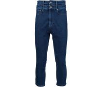 Cropped-Jeans mit doppeltem Bund