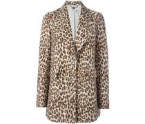 leopard peaked lapel coat