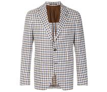 checked single-breasted blazer