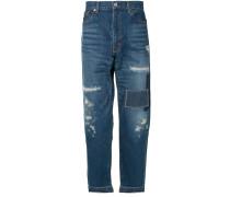 Gerade Patchwork-Jeans