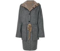 hooded checked coat