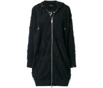 frayed longline zip-up hoodie