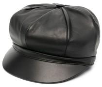 embellished logo leather baker boy cap