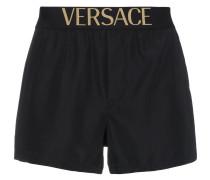 Black swim shorts with logo