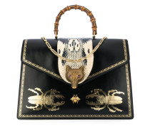 Broche beetle print top handle bag