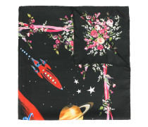 space and floral print scarf