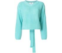 Gerippter Pullover mit Rückenschleife
