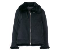 fur trim zip jacket