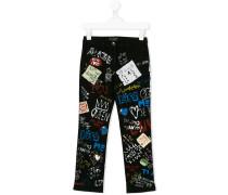 graffiti print jeans