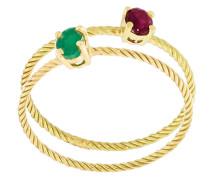 Ring-Set mit Smaragden und Rubinen