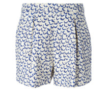 printed front pleat shorts