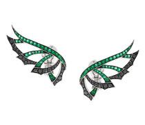 29kt 'Magnipheasand' Weißgoldohrringe mit Diamanten und Smaragden
