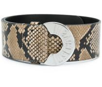 snake effect leather belt