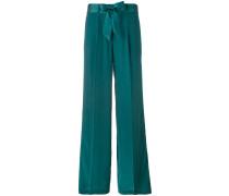 - tied belt straight trousers - women - Seide - M