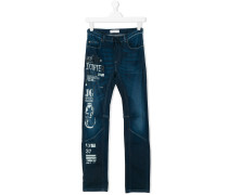 graphic print skinny jeans