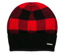 checked ribbed knitted beanie