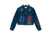 logo embroidered denim jacket