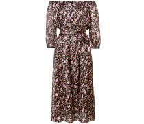 off the shoulder printed midi dress