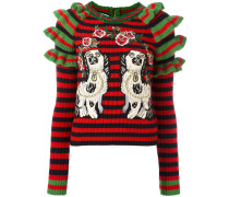 embroidered striped knitted jumper