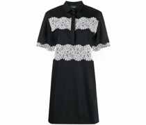 lace-panel shirt dress