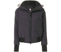 bomber puffer jacket with fur trimmed hood