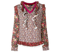 floral embroidered frill blouse
