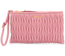 pleated logo plaque clutch