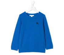 logo embroidery textured jumper