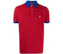 contrasting trim embroidered polo shirt