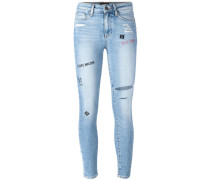 Hautenge Skinny-Jeans mit Stickereien